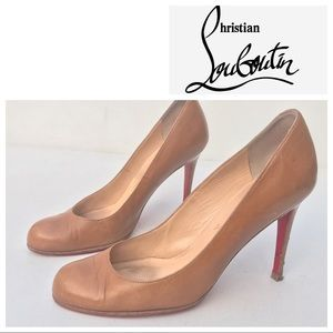 Christian LOUBOUTIN tan leather Heels 39 1/2 9 1/2